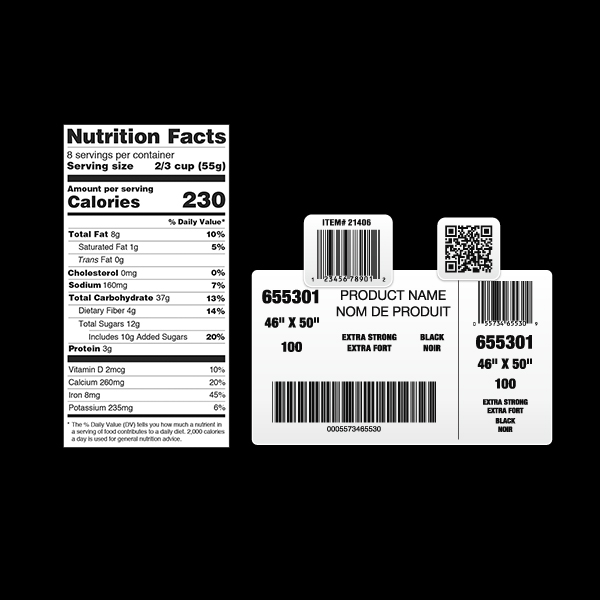 Labels for Barcode & Nutritional Facts